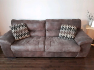 Synthetic leather couch and love seat