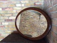 Antique Mirror, Oval, Solid Wood. Excellent condition