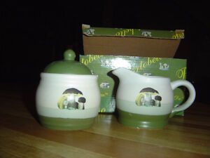 Brand new in box creme/green ceramic cream and sugar containers London Ontario image 1
