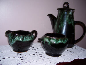 Royal Canadian Pottery Coffee Pot, Creamer and Sugar