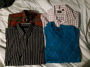 Used, Mins size large dress shirts, v-neck sweater and zip up sweater for sale  Peterborough