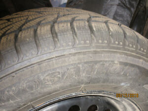 """FOR SALE--4 16""""--SNOW TIRES ON STEEL RIMS"""