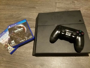 PS4 500gb HD Mint Condition + All Wires 1 Controller + 2 Games