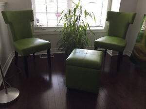 Green leather 2 chairs and storage ottoman