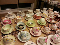 ANTIQUE Cups and Saucers/TASSES Collection Fine Bone China  BIG