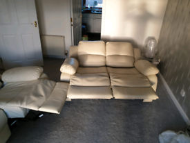 Cream Leather Recliner Couch