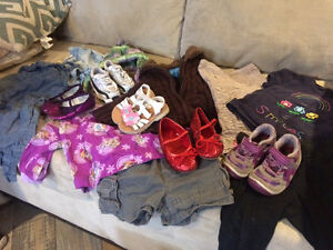 3 boxes girl clothes and shoes 9 months to 24 months