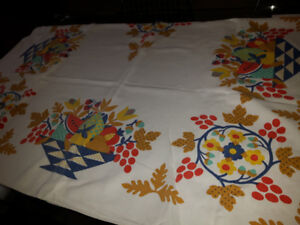 Vintage Linen Fall Tablecloth with Oak leaves