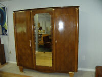 ROSEWOOD FRENCH ARMOIRE  AND NIGHT TABLE