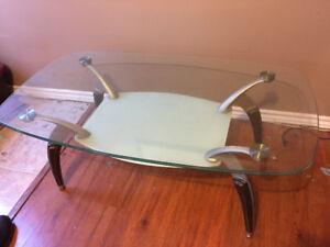 2 tier glass top coffee table with spider shape legs