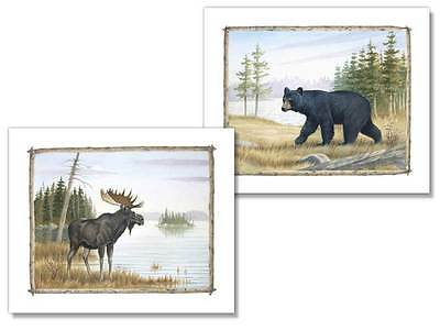 2 Country Art Prints Bear and Moose Picture Home Decor on Rummage