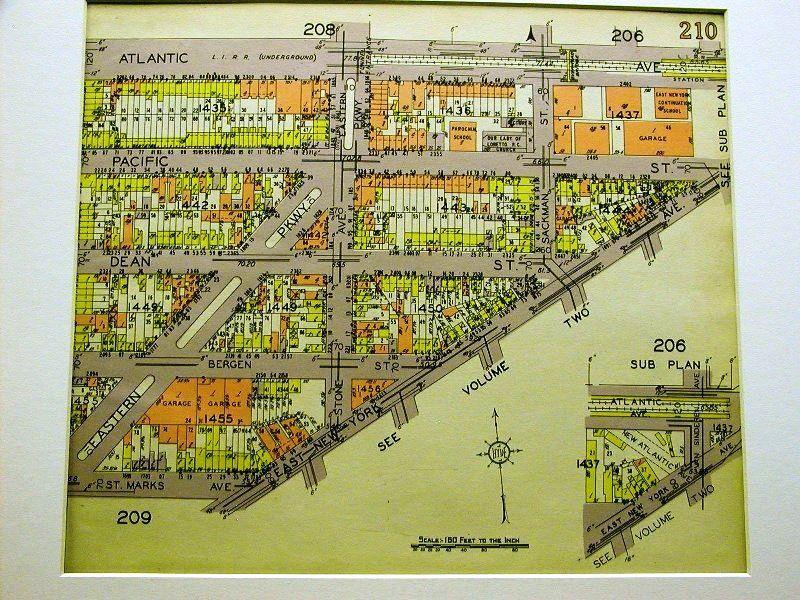 BROOKLYN MAP 1929 BEDFORD EAST NEW YORK ATLANTIC AVENUE Matted
