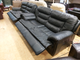 FREE DELIVERY black leather 3+3 electric recliner suite