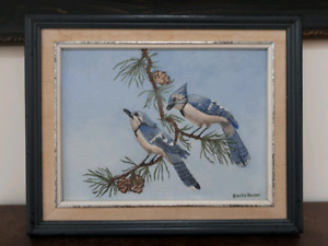 "Signed 1987 Painting ""Blue Jays"" by Bentie Heister 9x12"""