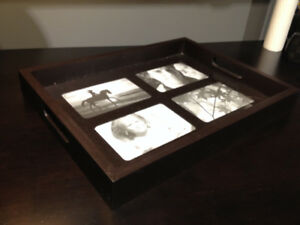 Serving tray - photos under glass - great condition!