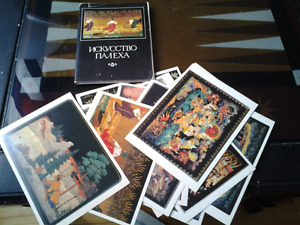 1982 RUSSIA CHRISTMAS NEW YEARGIFT PALEKH CARDS SET17PCS 15X11CM