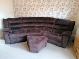 DFS CURVED BROWN RECLINER SOFA WITH STORAGE FOOT STOOL
