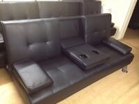3 seater black sofa bed (new)