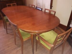 Mid Century dining table and 6 chairs oval wood velvet cover