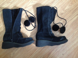 Cute suede wedge winter boots