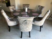 6 mink velvet wing back dining chairs