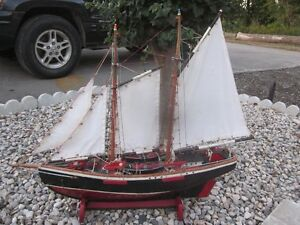 Vintage Hand Crafted Wooden Sailboat - Nicely Built!