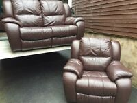 2 & 1 fultons luxury brown full leather reclining sofas - can deliver