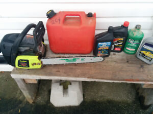 Chain Saw package gas, electric and trimmer