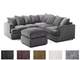 **14-DAY MONEY BACK GUARANTEE!!** Jamba Liverpool Jumbo Cord Fabric Corner Sofa - SAME DAY DELIVERY!