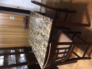 Bar height faux marble table and chair set