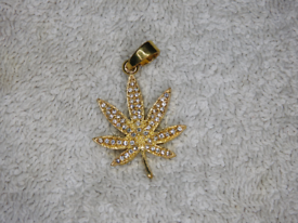 9ct Gold plated leaf with CZ stones