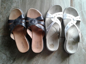 2 pairs of like new Clarks shoes - brown sold