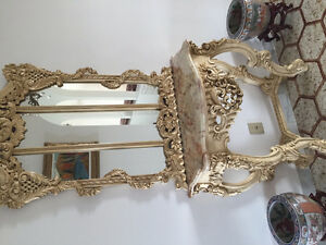 baroque style console with mirror
