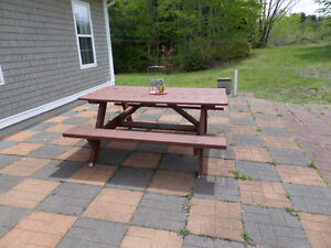 NICE HEAVY PINE PICNIC TABLE / DARK STAINED