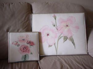 Pair Signed Silk Floral Paintings
