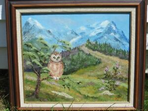 OWL OIL PAINTING