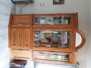 Solid wood dining room table with China cabinet and 4 chairs