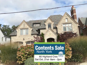 SAT OCT 21ST- MANSION CONTENT SALE IN NORTH YORK FROM 8AM-2PM!!!