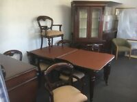 Mahogany table and 8 chairs sideboard and dresser