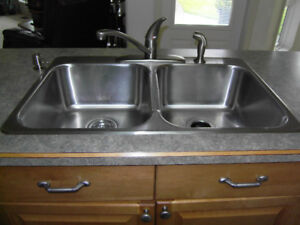 """STAINLESS STEEL DOUBLE 8"""" DEEP SINK ,WITH TAPS."""