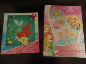Disney Princess Matching Game and Ariel Puzzle - new