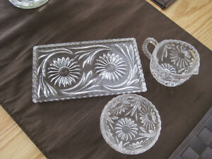 Crystal Tray With Cream and Sugar