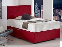 Faux Leather Double Divan Bed Including Luxurious Memory Foam Mattress & Plain Headboard