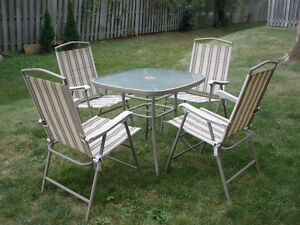 Patio Set Glass Top Table
