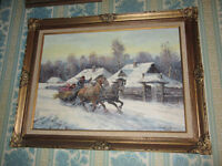 Vintage Oil Painting by J. Wosky - Winter Scene (Sled & Horses)