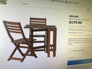 Set de patio extensible en bois traité avec 2 chaises