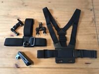 Various mounts for GoPro or similar action cameras