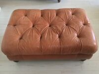 Italian Leather Foot Stool Excellent Condition