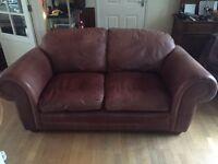 Laura Ashley mocha brown leather sofa