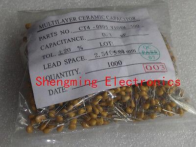 100pcs Multilayer Ceramic Capacitor 100nf 0.1uf 104m 50v P2.54mm B104m